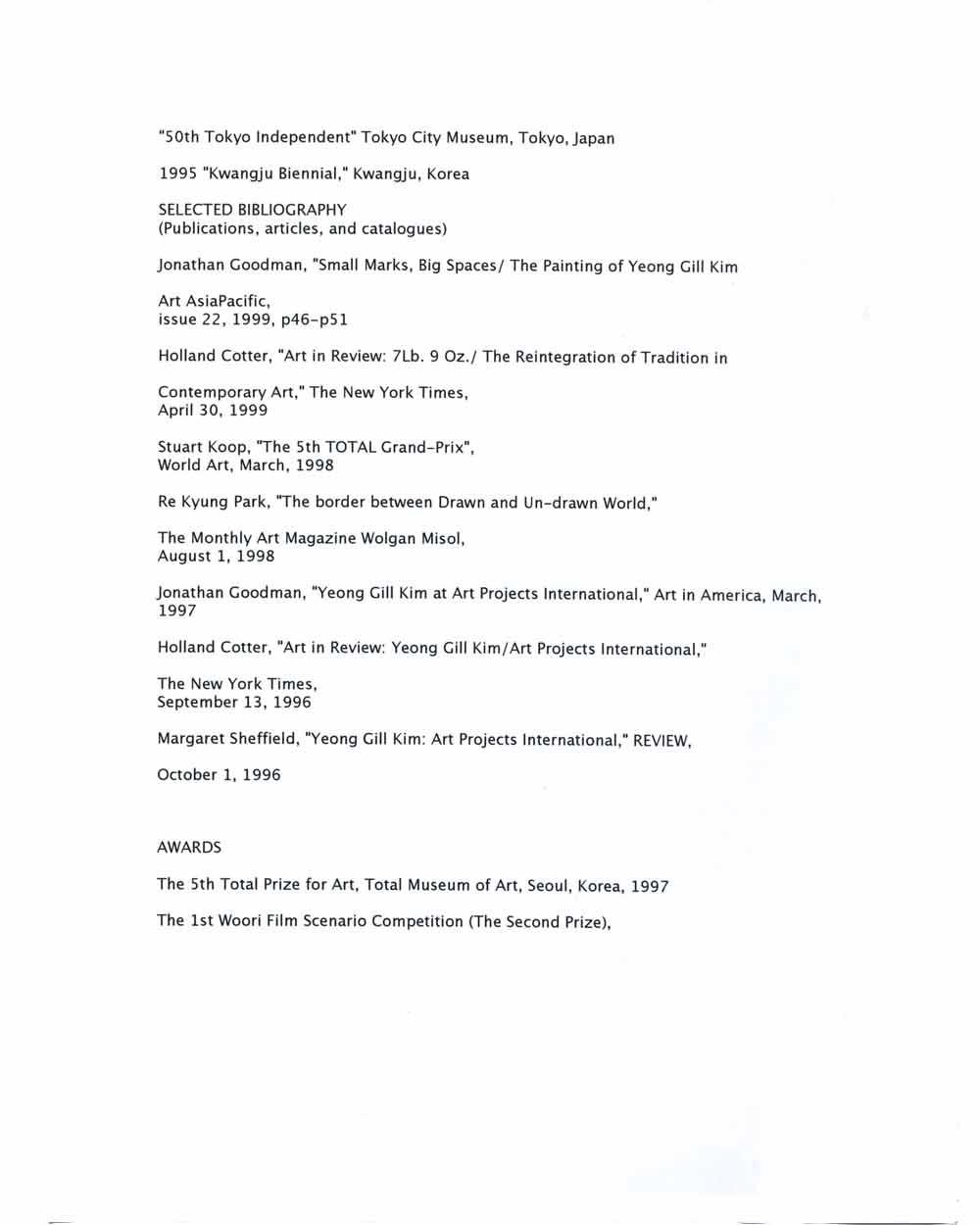 Yeong Gill Kim's Resume, pg 2